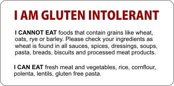 gluten free warning card for restaurants